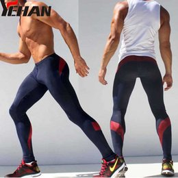 942911338 Wholesale- Compresion Pants Men Sport Runing Pants Elastic Joggers Spandex  Tights Men Sweatpants Low Rise Leggings Fitness Men Skinny Yoga