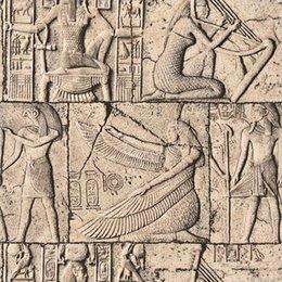 Wood Pvc Paper Rolls NZ - Retro 3D Embossed PVC Waterproof Wallpaper Egypt Ancient Culture Stone Wall Mural Classical Sculpture Vinyl Wall Paper Rolls 3D