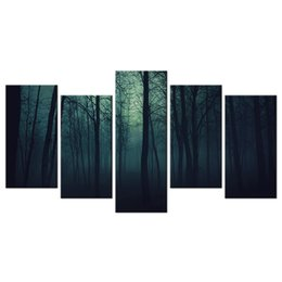 scenery paintings nature Canada - Gloomy Forest Canvas Print Picture Tree in the Mist Nature Scenery Giclee Print Decorative Canvas Artwork 5 Panels