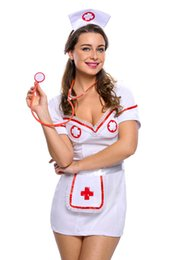 Costume De Lycra Sexy Pas Cher-3pcs Flirty Night Nurse Costume 2017 Set Fantasias sexy érotique Cosplay Costume Nurse Uniform Tempt V-Neck Dress bucaneras mujer LC8957