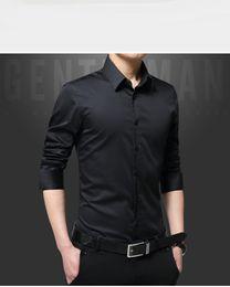 $enCountryForm.capitalKeyWord Canada - Men Dress Shirts Mercerized Cotton Solid Color Slim Fit Long Sleeve Silk Shirt Smooth Mens Shirts Big Sizes