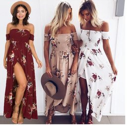 white bohemian style maxi dresses 2019 - 2017 casual dresses Boho style long dress women Off shoulder beach summer dress new year Vintage chifon white maxi dress