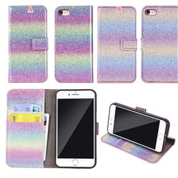s8 cell 2019 - Glitter Bling Wallet Leather Case For Iphone 8 7 Plus Iphone7 6 6S Samsung Galaxy S8 Rainbow Gradient Card Stand Cell Ph