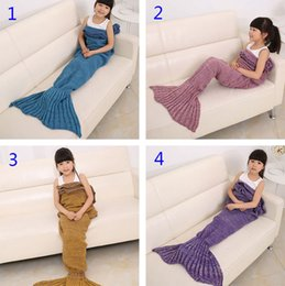 Discount super single beds - 6 Colors 140x70cm Children Fashion Knitted Mermaid Tail Blanket Super Soft Warmer Blanket Bed Sleeping Costume Air-condi