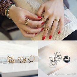 $enCountryForm.capitalKeyWord Australia - Hot Sale Retro Geometry Hollow Finger Rings Fashion Twisted Knuckle Joint Rings Index Finger Rings 1 Set = 3 Pieces