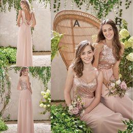 2019 New Rose Gold Brautjungfernkleider A Line Spaghetti Backless Pailletten Chiffon Günstige Long Beach Wedding Gust Kleid Trauzeugin Kleider