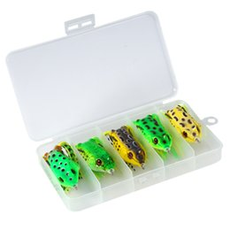 topwater lures 2019 - 5pcs box Mix Topwater Frog Fishing Lure Artificial Frog Bait Skirt Double Crank Hook Tackle Bass Simulation Soft Fishing