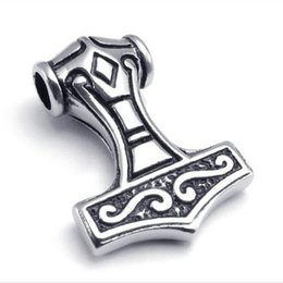 $enCountryForm.capitalKeyWord UK - Vintage Stainless Steel Mens Silver&Black Pendant Necklace Jewellery Knot Myth Mjolnir Thors Hammer come with chain wholesale