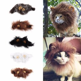 Vêtements De Noël Noël Pas Cher-Lovely Pet Costume Lions Mane Winter Warm Wig Cat Halloween Party de fête Dress Up With Ear Pet Clothing Cat Fancy Dress