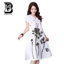 4b2a0c9e11 Plus Size Women Summer Casual Dress New 2016 Fashion Lotus Pattern Print  Short Sleeve Cotton Linen Comfortable Long Dresses H104