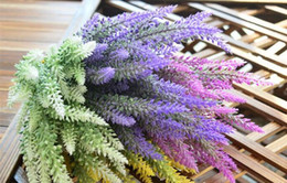 provence lavender wholesale Canada - Festive Provence lavender flower silk tomentum artificial flowers grain decorative fake flores bouquet Simulation of aquatic plan