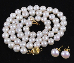 $enCountryForm.capitalKeyWord Australia - 8-9mm Natural White Akoya Cultured Pearl 14K GP Necklace Earrings Jewelry Set