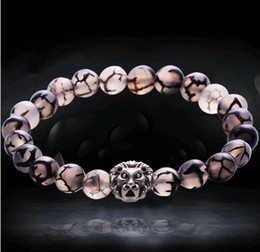 Discount head chain design New Buddha Beads Hand String Designs Pattern Rock Stone Agate Lion Head Beaded Bracelet 2 Styles for Choose