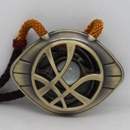 $enCountryForm.capitalKeyWord Canada - Doctor Strange Necklace Glow in Dark Eye Shape Antique Bronze Pendant with Leather Cord Movie Costume Cosplay Jewelry