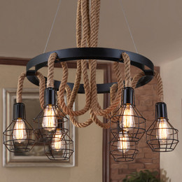 $enCountryForm.capitalKeyWord NZ - Pendant lights creative hemp rope chandelier personalized American style industrial vintage led chandeliers theme restaurant cafe club bar