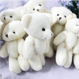 $enCountryForm.capitalKeyWord Canada - Wholesale- 100pcs lot 12CM Promotion gifts white mini bear plush toy joint teddy bear bouquet doll cell phone accessories