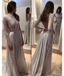 Barato Vestido De Formatura-Full Lace Beaded Evening Dresses 2017 Jóia com mangas compridas Sheer Deep V Back Beaded Belt Prom Vestidos