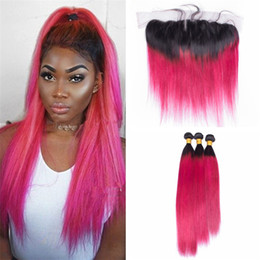 $enCountryForm.capitalKeyWord Canada - Peruvian 1B Pink Ombre Virgin Hair Bundles With Lace Frontal Closure Ombre Pink Straight Human Hair Weaves With 13*4 Lace Frontal
