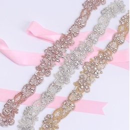 Barato Grossistas Vestidos De Noiva-Sashes Rhinestone Wedding Belt Vestido de casamento Belt Bridal Belt Cristal de vidro Handmade Alta qualidade Rose Gold White Evening Princess Wholesale