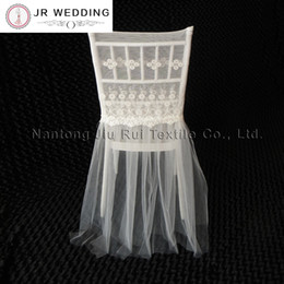 $enCountryForm.capitalKeyWord Canada - 20PCS Free Shipping White Color Embroidered Lace With Tutu sash Chiavari Chair Cover For Top Class For Wedding Decoration