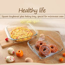 Glass Food Storage Containers Canada - Hot Sale Heat-Resisting Glass Tempered Glass Food Container Transparent Microwave Glasslock Food Storage Container Box Square Baking tray