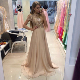 Barato Vestidos De Manga Longa Curtos E Brilhantes-Gorgeous Sparkly Champagne A Line Short Sleeve Novo vestido de noite 2017 Long Party Prom Gowns Chiffon Custom Made Shiny Fashion Best Selling