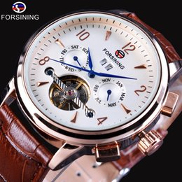 Luxury Display Cases Canada - Forsining Blue Hands Brown Leather Strap Rose Golden Case Calendar Tourbillion Display Mens Automatic Watches Top Brand Luxury