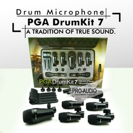 Discount free drum kits Free Shipping! Top Quality PGA DrumKit7 Seven Piece Dynamic Wired Microphone kit For Drum, PGA52 x 1, PGA56 x 4, PGA57 x