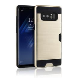 6a0daab54 Para Galaxy Note 5 S7 S8 borde más iPhone 6 7 6S Plus Caso Shell a prueba  de golpes Funda de goma parachoques con ranura para tarjeta Funda billetera