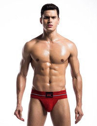 Wholesale men s sexy underwear thongs resale online - 2017 Time limited Men Red S L M Xl Polyester Men s Sexy Sports Lingerie Underwear Thong Big Rubber Band Belt Hot Burst Bingo Hip Double