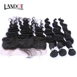Discount cambodian loose curly hair - Brazilian Loose Wave Wavy Virgin Hair Weave With Lace Frontal Closure 3 Bundles Peruvian Indian Malaysian Cambodian Curl