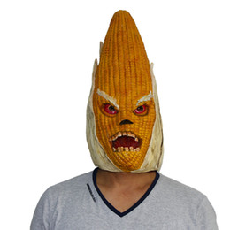 latex toys UK - X-MERRY TOY Deluxe Novelty Corn Vegetables Head Masks For Halloween Costume Party Latex Mask Free Shipping
