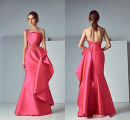 Barato Mini-saia Cor-de-rosa Barata-Saiid Kobeisy Lace Stain Sheer Neck Evening Pageant Dresses 2017 Hot Pink Applique Ruffles Skirt Mermaid Long Prom Gowns barato