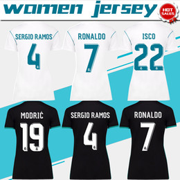 Chemises En Polyester Blanc Pas Cher-Women real madrid home white Soccer Jersey 17/18 real madrid away femme Football Shirt 2018 Personnalisé # 7 RONALDO girl football uniform Ventes