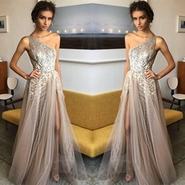 9bb0594a46ca0 Beautiful Silver Sequined Prom Dresses Elegant One Shoulder A Line 2018  Formal Split Evening Gowns Robe de soriee Cocktail