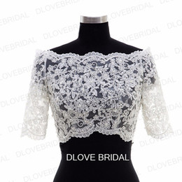 Barato Revestimento Do Botão Do Casamento Do Laço-New Half Sleeve Lace Bridal Jacket Lace Appliqued Tulle Wedding Party Dress Sheer Wraps Bolero com botões cobertos Custom Make Real Photos