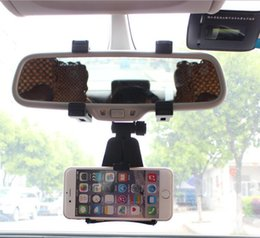 Cell phone holder mirror online shopping - Universal Rearview Mirror Car Cell Phone Holder PC Multi Function Car GPS Cell Phone Holder Cell Phone Mounts D02