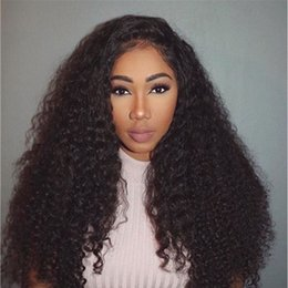 Sale Remy Full Lace Wigs Australia - 150% Density kinky Curly Full Lace Human Hair Wigs With Baby Hair Brazilian Remy Hair hot sale for black women