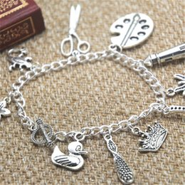SciSSor bracelet charm online shopping - 12pcs Tangled inspired bracelet Flower Castle Scissors Frying pan charm bracelet