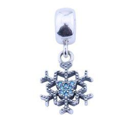 $enCountryForm.capitalKeyWord UK - New Snowflake Charm Pendants 925 Sterling-Silver-Jewelry Dangle Pave Clear Crystal Winter Ice Charms Beads DIY Brand Logo Bracelets