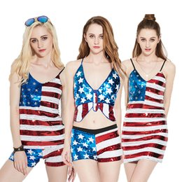 $enCountryForm.capitalKeyWord Canada - Hot Sale Sexy Women Skirts Tops Suits Flag Style Sequins Dress Sexy Nightclub Ladies Personality Clothing for Party Free shipping
