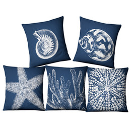 Dye blue online shopping - Flax Pillow Covers Creative Ocean Style Cushion Covers For Home Cloth Art Sofa Decor Pillowcase Many Styles yf CW