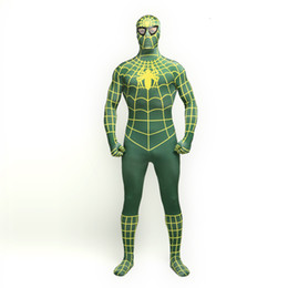 $enCountryForm.capitalKeyWord UK - 2017 Green and Yellow Lycra Spandex Full Body Zentai suit Classic Superhero Spider-man Cosplay Zentai Suit Costume For Halloween