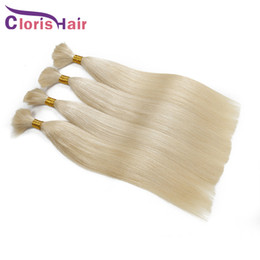 Discount 28 inch human braiding hair Unprocessed Straight Indian Braiding Hair Extensions In Bulk Without Weft 3 Bundles #613 Platinum Blonde Raw Human Hair