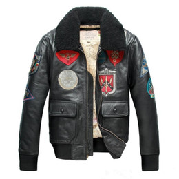 ccfcb4590 Black Avirex fly Flocking sheepskin genuine leather jackets USS WILLIAMM  STANDLE lapel neck AVIREX fighting bomber jacket