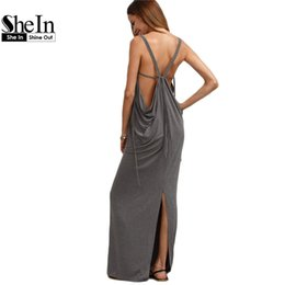 Corte Largo Maxi Baratos-Venta al por mayor- SheIn Womens Sexy Long Dresses Verano Ladies Plain gris sin mangas V cuello Backless recortar Split Shift Maxi vestido