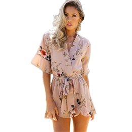 f6f05e7bd6 2017 Boho Red Floral Print Ruffles Playsuits Women Elegant Autumn White V  Neck Jumpsuits Rompers Sexy Beach Girls Short Overalls