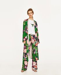 ElEgant kimonos online shopping - Elegant Green Floral printed kimono blouses shirt women fashion sashes kimono long sleeve long cardigan Summer autumn casual blouse top