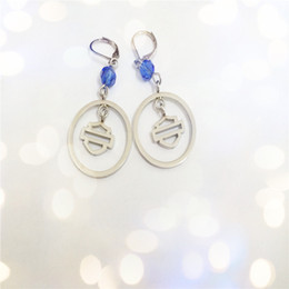 wholesale biker earrings NZ - 2pairs lot new arrival blue crystal biker style earrings 316L stainless steel fashion jewelry hot selling men motorbiker earrings