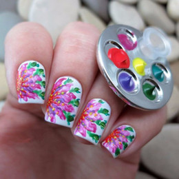 Discount finger nail painting tools - Wholesale- 1PC Mini Nail Art Metal Finger Ring Palette Mixing Acrylic Gel polish Painting Drawing Color Paint Dish Glue